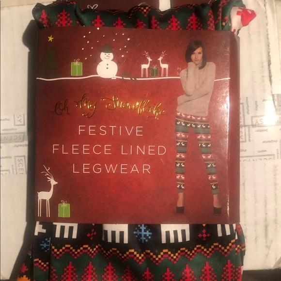 Oh My Snowflake Pants - Festive fleece lined leggings adult S/M NEW snow